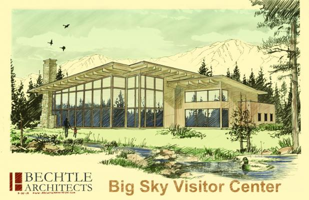 "A recent rendering of a ""world-class visitor center"" at the intersection of Highways 191 and 64."