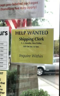 "Like lingering Christmas decorations still out in March, local ""Help Wanted"" signs seem to hang around for an uncomfortably long period of time. Find this one at QuickPrint on Snowy Mountain Circle."