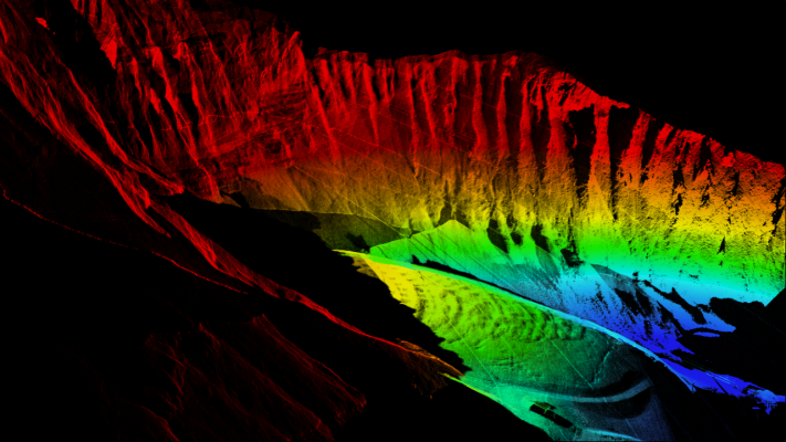 """This colorful image is a screenshot of the 3D point cloud rendering,"" explained Stephen Crouch with Blackmore Sensors and Analytics. ""The colors correspond to height-altitude—a common false color scheme used in lidar data to help make the data more interpretable."""
