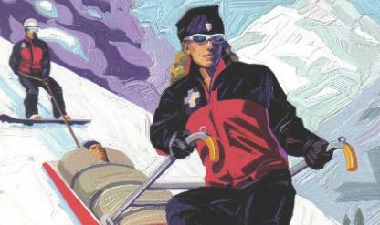 "This image appears on the cover of ""Outdoor Emergency Transportation: Principles of Toboggan Handling,"" from the National Ski Patrol System. In John Rember's short story ""There's a Wreck at the Top of Mount Mammon,"" a fictional ski patroller has a nightmare about losing control of his sled."