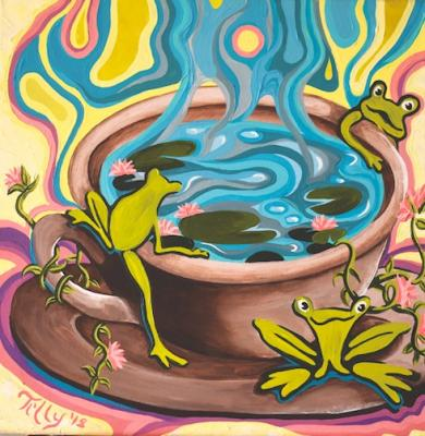 """Frog Pond Coffee."" Mattox has always been a fan of frogs, and the whimsical creatures are often found in her artwork."