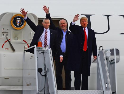 (L to R) Auditor Matt Rosendale, Rep. Greg Gianforte and President Donald Trump.