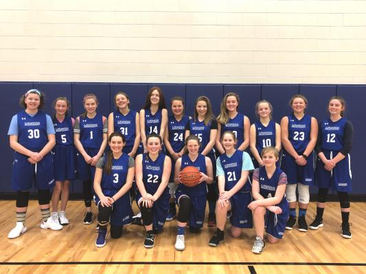 Meet your 7/8th grade Ophir Lady Miners. Back row (left to right): Greta McClain, Emerson Tatom, Zia Wier, Vera Grabow, Katrina Lang, Avery Dickerson, Haley Houghteling, Maddie Cone, Jessie Bough, Kate King, Jaiden Spence. Front row (left to right): Kylie Oswald, Emily Graham, Josie Wilcyinski, Emily Milner, Judy Gail Blodgett