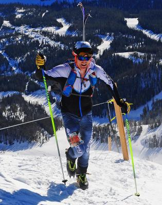 Chris Carter leads the race at the summit of Lone Peak.