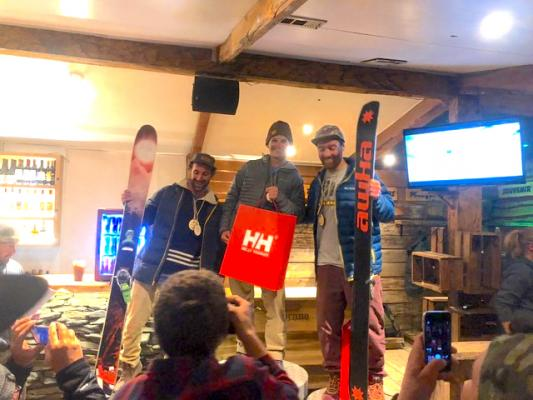 "Montana State University Bobcat Chase Samuels (center with red HH bag) stands atop an international podium in La Parva, Chile. Chase and Holden's father Chris Samuels said he's, ""Super proud of both of the boys.""  The older Samuels added in an email to the Lookout, ""Chase has been a Free Ride competitor his whole life. He has only done one other FWQ (this past winter he took 5th at Targhee's FWQ event). Don't know what the future holds for Chase competing. I would imagine he will do some."""