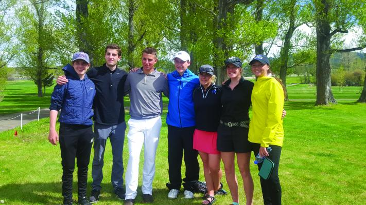 Big Horn golfers at the class C state tournament: (l to r) Evan Iskenderian, Nick Iskenderian, Harry Schreiner, Sam Johnson, Delaney Pruiett, Sarah Maynard and Lyli McCarthy. Not pictured is Liam Germain, who qualified for state but fell ill before play began. Evan Iskenderian stepped up to fill Germain's spiked shoes and helped the boys' team place seventh at state.