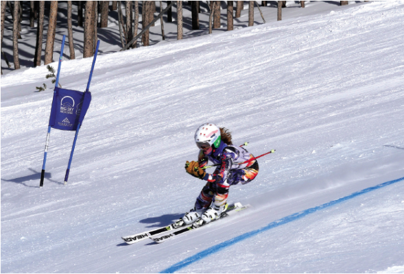 Tess Lewison with the Flathead Valley Ski Education Foundation comes through the super-G gates on Hangman's during the recent Lone Peak Speed Series. PHOTO BY DAVID MADISON