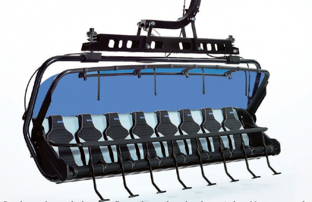 "Ramcharger 8's roomy bucket seats will zoom skiers and snowboarders up Andesite Mountain in comfort, shortening the current ride by two-thirds. According to Boyne Resorts President Stephen Kircher, each chair weighs 2,200 pounds and ""costs more than a Porsche."" Photo Courtesy Big Sky Resort"