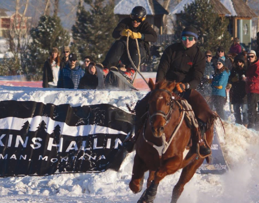 "Anna Jessen pulls her husband, Pete, in a recent skijoring competition. The two got into the sport about a year ago and along with a handful of other enthusiasts are responsible for bringing a new event to Big Sky. ""We were always looking for ways to keep our horses busy,"" Pete said. ""Most horses are in winter pasture this time of year, but we wanted to keep them and ourselves busy."""
