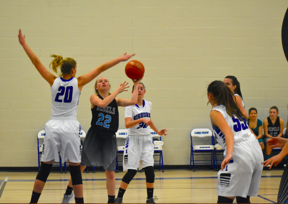 "Brooke Botha, far left, squashes her opponent's attempt to make a basket. Botha, a senior measuring in at 6'2"", has been a defensive powerhouse for her team. She also scored two points during the December 20 game."