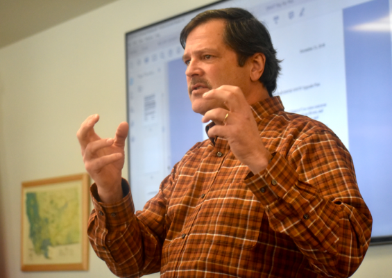 Montana Water Project with Trout Unlimited Director Patrick Byorth speaks to the board encouraging members to invest in the technology to protect the river.