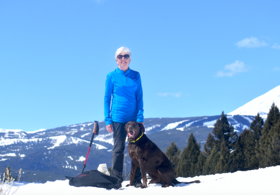Mary Grundman and her recently rescued 10-year-old dog Wrigley enjoy a hike on the Black Diamond Trail in Big Sky.