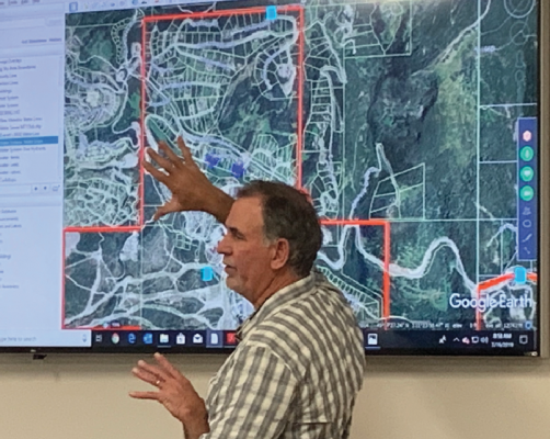 BSCWSD water superintendent Jim Muscat explains to the board why it is important to find water on the mountain. PHOTO BY JANA BOUNDS