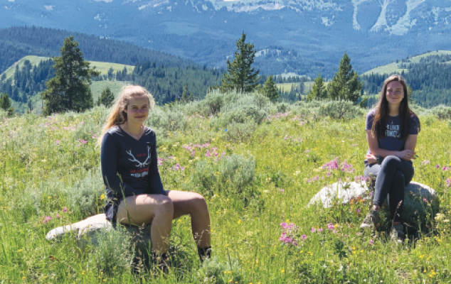 Two of the LPHS student researchers,  left to right, Maya Johnson and  Niamh Gale. Notes From the Field Yellowstone NP & Greater Yellowstone Natural System, a University of Montana – Lone Peak High School CAS Research & Publishing Project.  Photo courtesy rick graetz