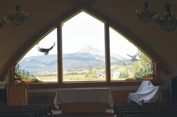 A view to make churchgoers marvel. BIG SKY CHAPEL STOCK PHOTO