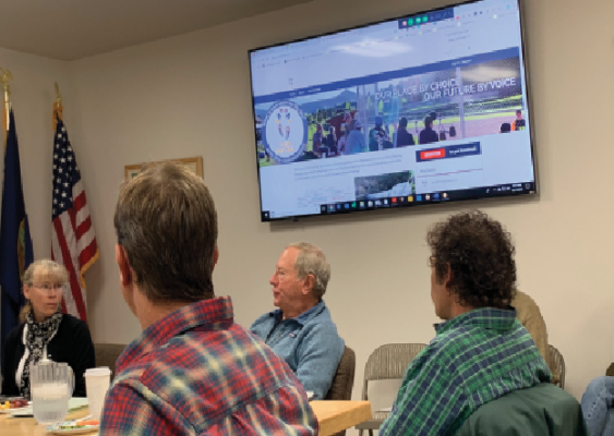 The Big Sky County Water and Sewer district board discussed the community visioning project at the Sept. 17 meeting. PHOTO BY JANA BOUNDS
