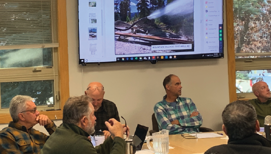 A photo shared by Big Sky County Water and Sewer District general manager Ron Edwards at the board meeting shows water flowing from test well 2 on the mountain. PHOTO BY JANA BOUNDS