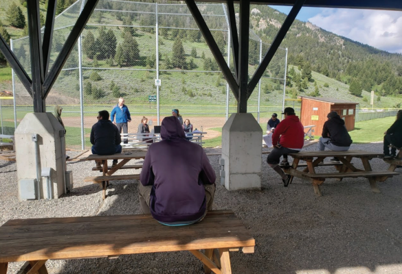 A team manager meeting to discuss changes to softball showed a shift in mentality as managers were scattered to social distance. PHOTO COURTESY MARJORIE KNAUB