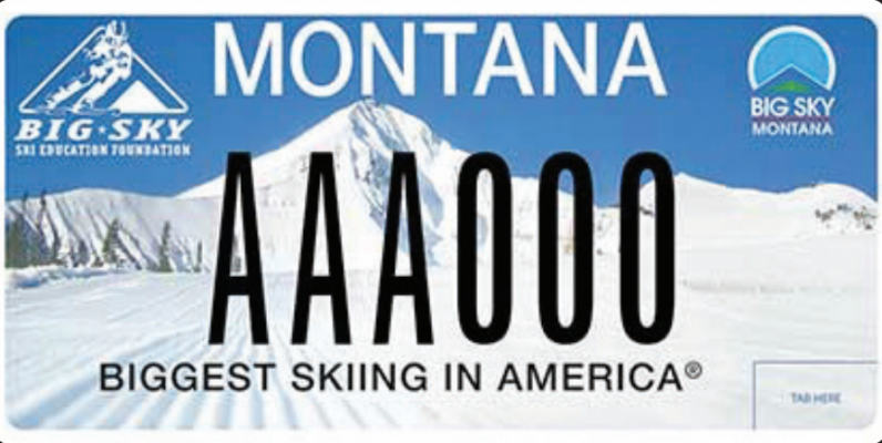 The Big Sky Ski Education Foundation license plate involves a $20 Donation to Sponsor, $10 Administration Cost, $10 Production Cost and $20 Renewal Donation. PHOTO COURTESY MTDMV