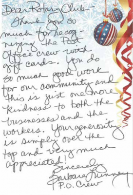 The Rotary received letters and messages of appreciation –including this one from a post office employee – after distributing gift cards to local employees. PHOTO BY LAURA SEYFANG