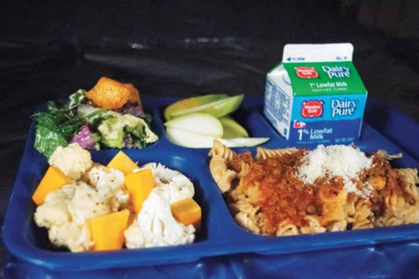 """It's really worked here. Since I've been here, we've increased the amount of kids who eat lunch [at school] from about 20% to 70%,"" Hurlbut said of the school food program. This photo is of this year's runner-up local lunch. PHOTO COURTESY OF LINDSIE HURLBUT"