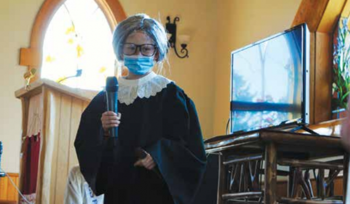 """You can call me RBG,"" Maeve said after introducing herself as Ruth Bader Ginsberg. Maeve said Ginsberg was a peacekeeper of the world because she fought for women's rights through her position on the Supreme Court. PHOTO BY KEELY LARSON"