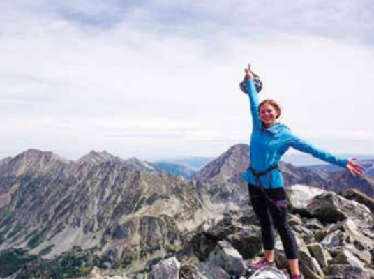 """""""Standing on Beehive Peak was both breathtaking and gratifying. The chance to gaze over the sea of mountains surrounding the summit and the basin below was earned by the partnership of my body and mind. I'm so grateful for moments like this—moments when I can truly appreciate how strong I am inside and out."""" Emily Lessard, freelance writer based in the Gallatin canyon."""