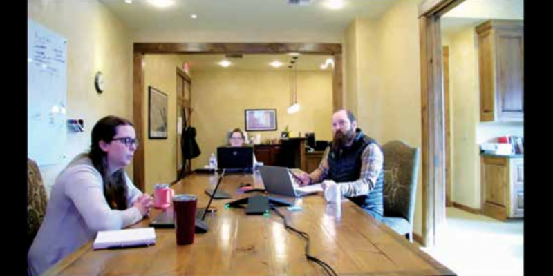 Big Sky Resort Area District staff socially distancing as they interact with board members via Zoom. PHOTO BY JANA BOUNDS