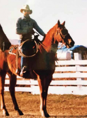 Lyle Qualls was always comfortable in a saddle, although he never did find it romantic to look at the south ends of northbound cattle. PHOTO COURTESY OF ELIZABETH WARRINGTON