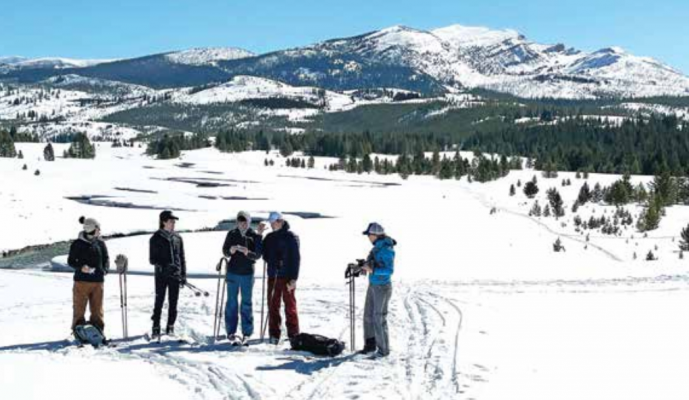 LPHS Research students in the Gallatin River Meadows – Yellowstone National Park with Dr. Kate Eisele, LPHS Science teacher. PHOTO BY RICK GRAETZ