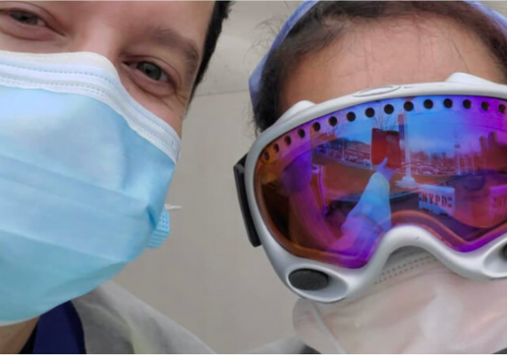 """Doctors and nurses are able to protect themselves from """"COVID coughs to the face"""" with the help of donated ski goggles. PHOTO COURTESY GOGGLES FOR DOCS"""