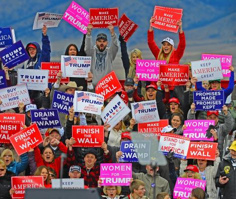 The Trump base turning out on the tarmac in Belgrade.