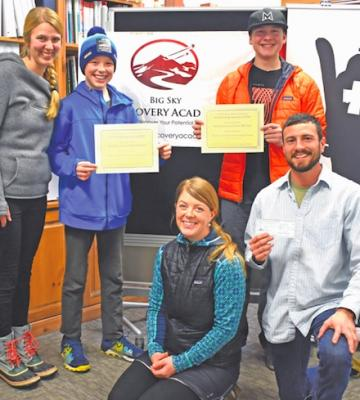 [L to R] Big Sky Community Organization Director Ciara Wolfe, Discovery Academy seventh grader Kjetil Hassman, Erika Pankow Scholarship board member Odie Loomis, Discovery Academy eighth-grader Nate McClain and Discovery Academy middle school teacher and mentor Chris Corona.