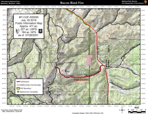 The latest map of the Bacon Rind Fire