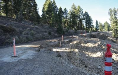 This landslide along Jack Creek Road is one of two, this one being much more pronounced. The slide was repaired around seven years ago, but soon began its creep downhill again. Moonlight Basin is currently investigating better ways to deal with the slide, the most recent possible fix costing upwards of $750,000.
