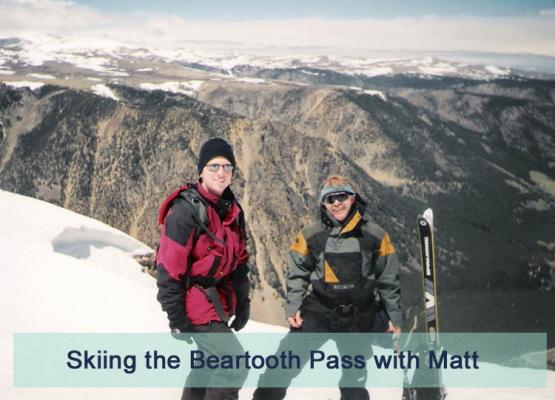 "Commissioner Steve White sporting a vintage Steep Tech North Face jacket, made famous by his former ""shop guy"" Scot Schmidt,  who would go on to help invent ""extreme skiing."" This shot was taken in July up on the Beartooth Highway with White's son Matt."