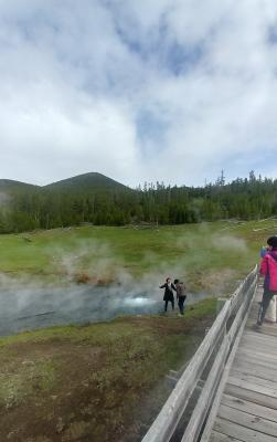 Tourists ignore signs warning of danger this past summer and descend from the boardwalk at Lower Geyser Basin to submerge their hands in the thermal water.