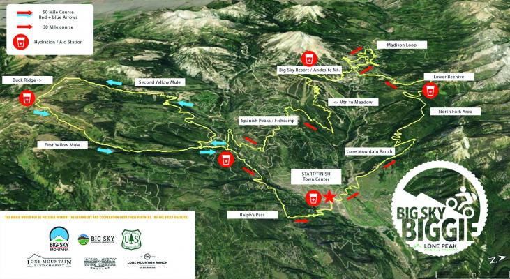 The routes racers will follow during the Big Sky Biggie Aug. 25.