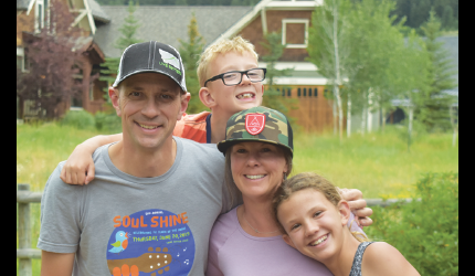 The Jacobson family on a sunny day in Big Sky after discussing their gratefulness to a loving community. PHOTO BY JANA BOUNDS