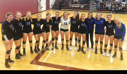 Lone Peak High School Big Horns varsity volleyball team smiles as they prepare to battle at districts. PHOTO COURTESY MICHELLE HORNING