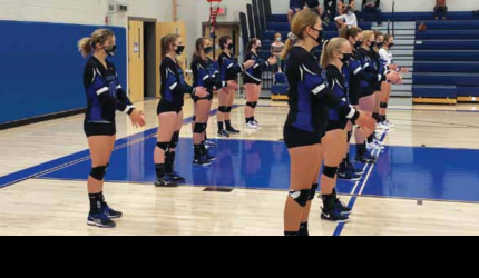 The Lady Big Horns line-up to face the Twin Bridges Lady Falcons. PHOTO COURTESY KARA BLODGETT