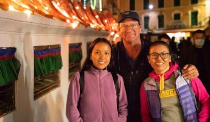 """""""Our beautiful daughter Lhakpa Doma is a second-year dental student here in Kathmandu and of course Fura Diki (on right) is the birth mother of our three daughters in Montana,"""" Dr. Peter Schmieding wrote in a Facebook post."""