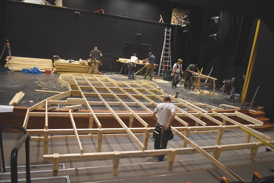 "Construction crew members from Big Sky-based Haas Builders take on the unique task of building one at WMPAC on Jan. 9 in preparation for ""Levity,"" coming Jan. 19–21."