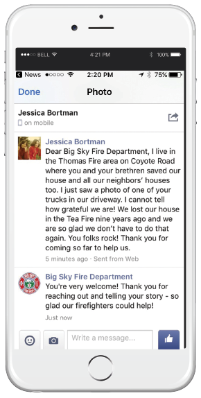 After seeing a Big Sky engine and crew working to protect her home, a California resident reached out via Facebook to thank the Big Sky team.