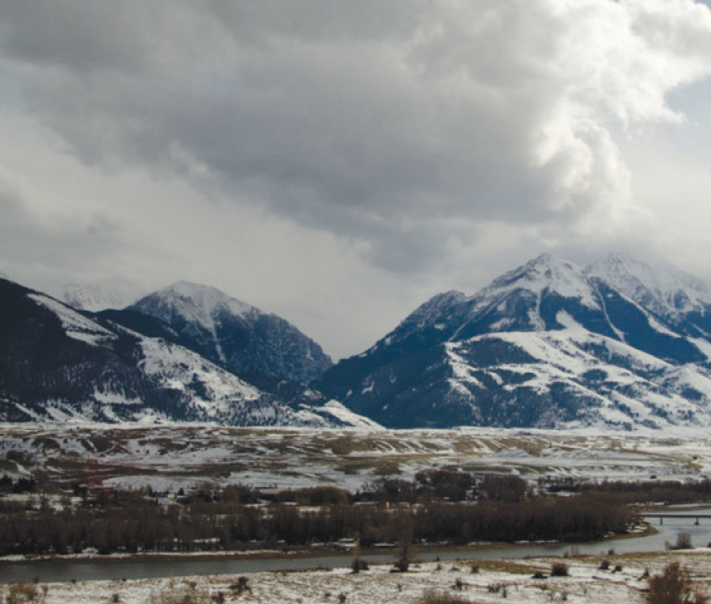Proposed mining zone: Emigrant Gulch, seen up close in winter and from a distance looking southeast across the Yellowstone River.  PHOTO BY the park county environmental council