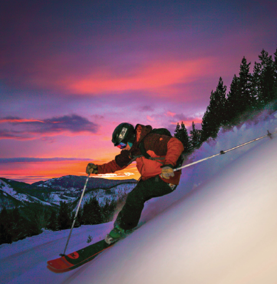 Ross Lingle: Night Skiing. While Coyle takes plenty of ski shots during the day, he decided recently to take the art to a new level as the sun set and disappeared to the west. It took a few hours to get the settings right, but much trial and error resulted in this unique image.
