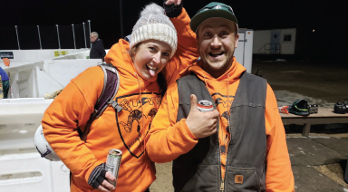 Jillian Uridel and Jeff Knaub with the Top Shack Whackers show how fun the sport can be. PHOTO COURTESY MARJORIE KNAUB