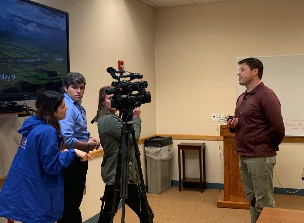 Commander of the Missouri River Drug Task Force and Gallatin County Sheriff's Office captain Ryan Stratman provides quotes for local media. Photo by Jana Bounds