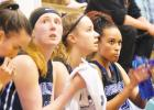 Big Horns take a breather against Shields valley. [L to R] Emma Flach, KP Hoffman, Solae Swenson and Jayleen Cole.
