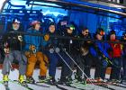 First, first chair! Left to right: Big Sky Resort Mountain Operations Vice President Mike Unruh, Big Sky Resort General Manager Taylor Middleton, Dominik Falkner of Doppelmayr Everett Kircher, President of Boyne Resorts Stephen Kircher, President of Doppelmayr USA Mark Bee, John McGregor of Big Sky Resort, Randy Woolwine, Doppelmayr's president of sales.